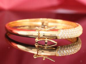 4.50CTS Cuff Bangles 14KT Yellow GOLD Finish DIAMOND TENNIS Women's BRACELET