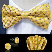 USA Mens Silk Bowtie Yellow Blue Plaids Checks Adjustable Bow Tie Hanky Set