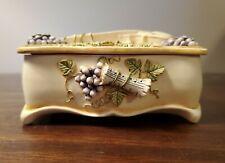 San Francisco Music Box Company Trinket Box Violin Grapes Music Sheets