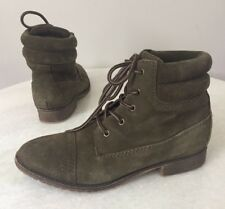 STEVE MADDEN Maecie Green Suede Lace Up Ankle Boots Size 7.5 M