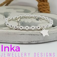 Inka Sterling Silver CHUNKY beaded Stacking Bracelet with a STAR charm