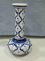 "Vintage Blue And White Porcelain Bud Vase 5"" Tall Beautiful Design"