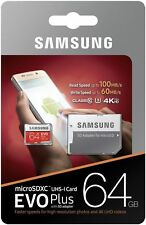 Cámara digital Samsung 64 GB Micro SD EVO Plus para tabletas d 4K UHD 100 MB U3 SDXC