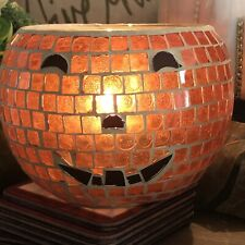 Halloween Pumpkin Mosaic CANDLE HOLDER