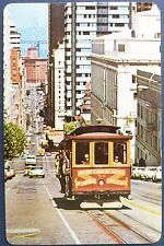 VINTAGE SWAP CARD. CALIFORNIA TROLLEY CAR /TRAM. VAN NESS AVE - MARKET ST c1960s