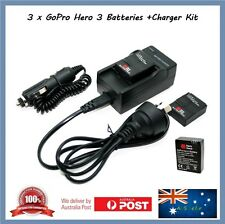 3 x Gopro Hero 3 3+ Compatible Batteries + Car 12v + Wall Socket Charger Go Pro