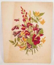September Trade Card Victorian Flowers Autumn Poem Vintage No Business Name