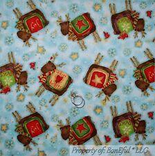 BonEful Fabric FQ Cotton Quilt Moose Bird Blue Cardinal Red Xmas Star Snowflake