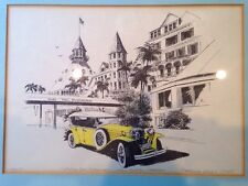 Vtg Print Hotel Del Coronado Patrick Kelly Framed 1930 Ruxton Phantom Hot Rod