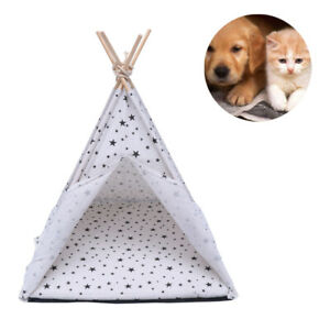 Small Pet Portable Teepee Bed Cat/Kitten/Dog/Puppy Foldable Tent House Cushion