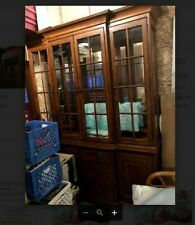 Oak dining room hutch, 4 panel dining room hutch, China cabinet