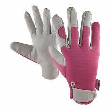 Flower Power User Friendly Tools Ladies Leather Gardening Gloves - Slim Fit Work