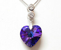 Heliotrope Heart Pendant Necklace Made with Swarovski® Crystals, Sterling Silver