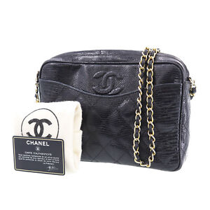 CHANEL Quilted Chain Shoulder Bag Black Lizard Leather Vintage Auth #YY149 S