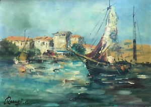 Sergio Raugi Barche Porto Livorno Dipinto Olio su Tavola  cm. 70  x 50