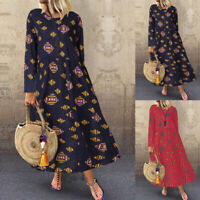 ZANZEA Women Long Sleeve Vintage Ethnic Print Long Shirt Dress Midi Dress Plus