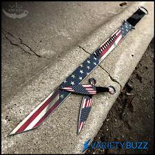 "27"" AMERICAN FLAG NINJA SWORD Full Tang Machete Blade Katana Throwing Knife Set"
