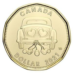 "2021 Canada $1 Special Just Married ""Wedding"" Design Loon Dollar ""Only From Set"""