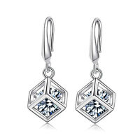 Women's Fashion 925 Sterling Silver Zircon Cube Dangle Drop Hook Earrings Gift
