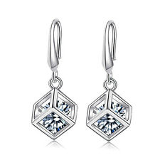 Fashion Jewellery 925 Sterling Silver Cube Zircon Love Ear Hoop Dangle Earrings