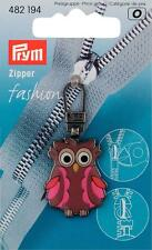 Prym Fashion-Zipper Reißverschluß -Zipper für Kinder Eule braun/pink 482194
