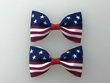 American Flag 4th of July Hair Bows with Alligator Clips