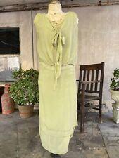 Antique 1920s Mint Green Silk Chiffon Dress Bow Keyhole Layers Midi  Vintage