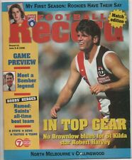 Football Record 1998 NORTH MELBOURNE v COLLINGWOOD round 11 has ink Kangaroos
