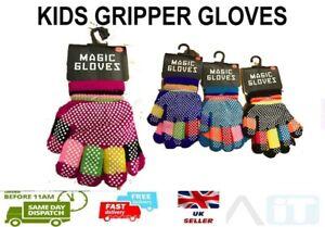 Boys Girls Kids Childrens Grip Gripper Warm Thermal Stretch Magic Gloves