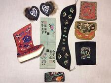 LOT OF 8 RARE ANTIQUE 19/ 20th c CHINESE EMBROIDERED PIECES SHOE EMBROIDERY!