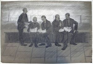 Mary Beresford Williams (b.1931) Pastel study of men conversing.
