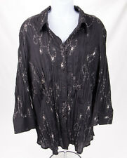 COMO WOMAN Sz 3X Black Half Sleeve Embroidered Button Front Blouse Top