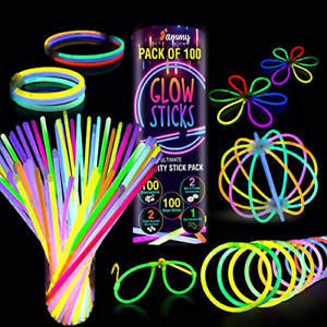 100 Premium Glow Sticks Party Pack 8 inch with Connectors to make Neon Glasses