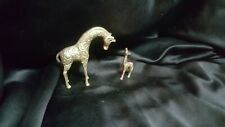 """Vintage Solid Brass Mother And Baby Giraffe4.5"""" Tall And 3"""" Tall On Small One"""