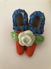 Antique Collectible Victorian Bone china Porcelain Miniature Pair Of Shoes