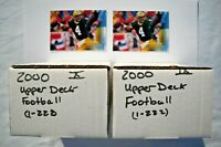 2000 Upper Deck Football Base Sets Lot (2 Sets, 222 Cards Each) Near Mint-Mint