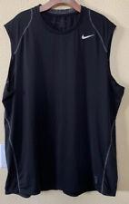 Mens Nike Pro Solid Black Sleeveless Tank Top Size 2Xl