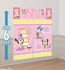 Baby Minnie Mouse 1st Birthday Scene Setter Wall Banner party Supplies Decor