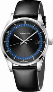 Calvin Klein Men's KAM211C1 Completion 43mm Black Dial Leather Watch