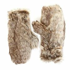Ladies Luxury Faux Fur Fleece Lined Mittens Gloves Fluffy Soft Cosy Brown NEW