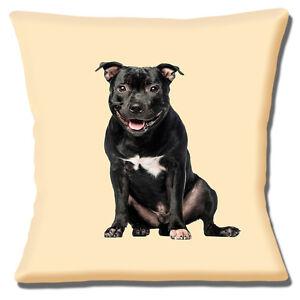 "Staffordshire Bull Terrier Cushion Cover 16""x16"" 40cm  Black Brindle Staffie Dog"