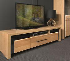 TV Cabinet Entertainment Unit Oak & Black Gloss Finish Modern Media Bench Arosa