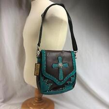 P&G Collection Turquoise Messenger Bag Purse Leather Cross Conceal