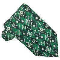 BEVERLY HILLS POLO CLUB Classic Green Novelty Golfing Golf Ball Tee Necktie Tie