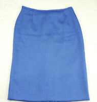 Tahari Womens Size 2 Pencil Skirt, Solid Blue Textured Knit, Knee Length, Lined