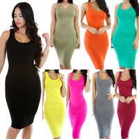 Women Bodycon Dress Sexy Stretch Slim Vest Dress Sleeveless Fashion Tank Dress