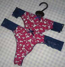 "2x NEW Women's ""Topshop"" Burgundy/Blue Floral Lace Thong Knickers UK6 EU34"