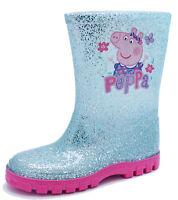 GIRLS KIDS BLUE GLITTER PEPPA PIG WELLIES RAIN SPLASH WELLINGTON BOOTS UK 4-10