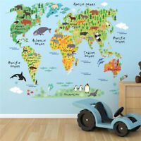Animal World Map Wall Stickers Kids Art Mural Removable Cartoon Decal Decoration