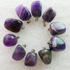 QSAM3706 Beautiful 10pcs Carved Natural Amethyst tumble pendant bead